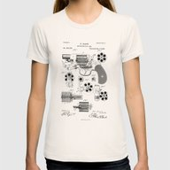 Revolver Patent Drawing Womens Fitted Tee Natural MEDIUM