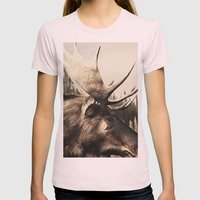 Tom Feiler Moose Womens Fitted Tee Light Pink SMALL