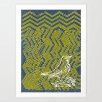 Chevron Bird Art Print