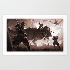 T. rex vs Samurai Art Print