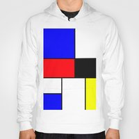Red Blue Yellow squares design Hoody