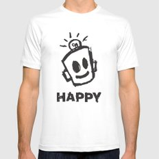 HAPPY  Mens Fitted Tee White SMALL