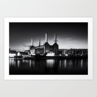 Battersea Power Station in monochrome Art Print