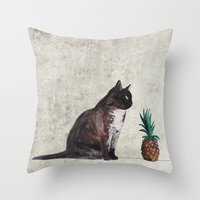 cat and pineapple Throw Pillow