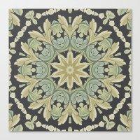 Mandala Leaves In Pale B… Canvas Print