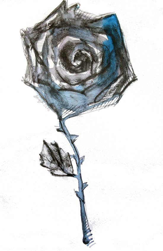 Royal Blue Rose Art Print