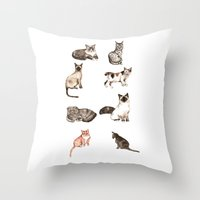 For cat lovers - watercolor of different cat breeds Throw Pillow