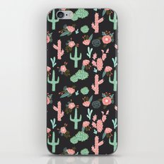 Cactus florals dark charcoal colorful trendy desert southwest house plants cacti succulents pattern iPhone & iPod Skin