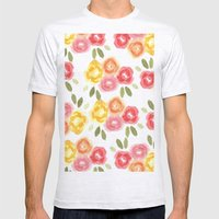 Vintage Florals Mens Fitted Tee Ash Grey SMALL