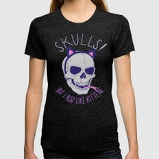 Skulls and Kittens Womens Fitted Tee Tri-Black SMALL