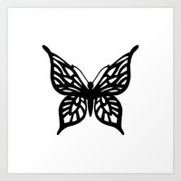 Butterfly Black on White Art Print