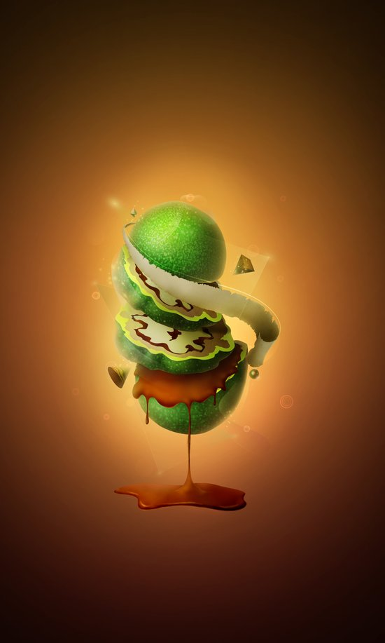 Sliced Green Wallnut Art Print