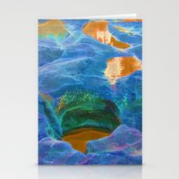 Abstract beautiful rock pools in the late afternoon Stationery Cards