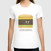 Cheesy Burger Womens Fitted Tee White SMALL