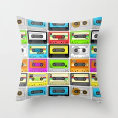 Retro 80s Cassette Tape Pattern Throw Pillow