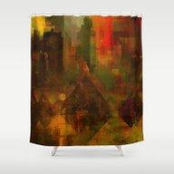 Pyramidal City Shower Curtain