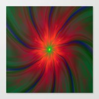 Green Eyed Swirl on Red Canvas Print
