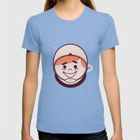 Retro Space Guy Womens Fitted Tee Tri-Blue SMALL