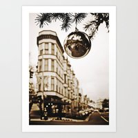 Christmas downtown Art Print