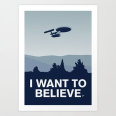 My I want to believe minimal poster-Enterprice Art Print