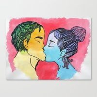 Love in water color. Canvas Print