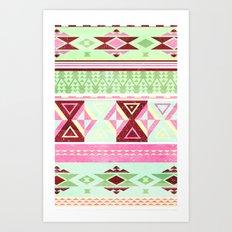 Neon Aztec Art Print