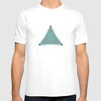 Merkaba Triangle Green Mens Fitted Tee White SMALL