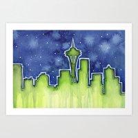 seattle Art Prints featuring Seattle  by Olechka