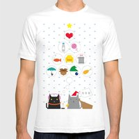 Santa Cat Mens Fitted Tee White SMALL