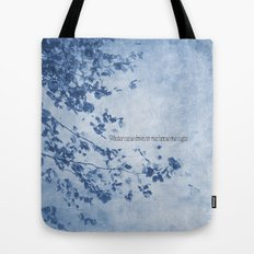 Winter came down to our home one night Tote Bag