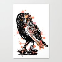 Owl with ink Canvas Print
