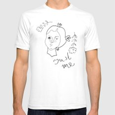 Just me SMALL Mens Fitted Tee White