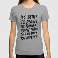 #NOREGRETS Womens Fitted Tee Athletic Grey SMALL
