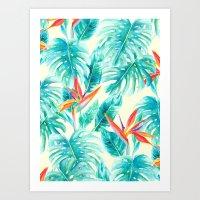 Tropical Paradise Pale Yellow Art Print