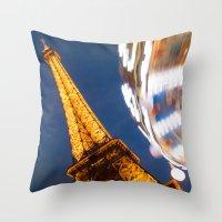 Tour Eiffel Carousel Throw Pillow