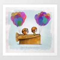 adventure Art Prints featuring UP Pixar — Love is the greatest adventure  by Ciara Panacchia