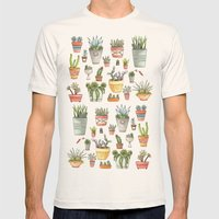Potted Succulents Mens Fitted Tee Natural SMALL