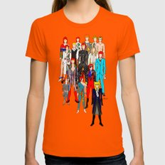 Bowie Doodle Womens Fitted Tee Orange SMALL