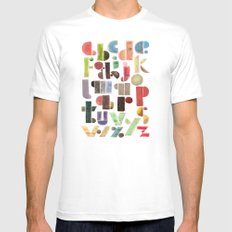 The Alphabet - by Genu WORDISIAC™ TYPOGY™ White SMALL Mens Fitted Tee
