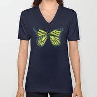 Lime Butterfly Unisex V-Neck