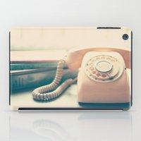 Pink Retro Telephone and Books, still life vintage  iPad Case