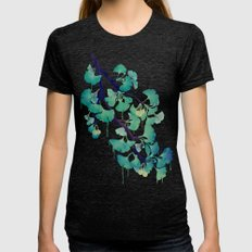 O Ginkgo (in Green) Womens Fitted Tee Tri-Black SMALL