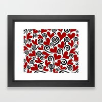 Red Hearts & Swirls Framed Art Print