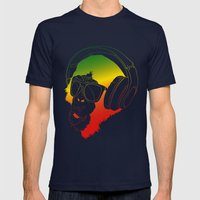 Jamin' Chimpanzie  Mens Fitted Tee Navy SMALL