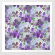 Art Print featuring Field Of Purple Flowers by RokinRonda
