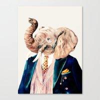 Elephant Cream Canvas Print