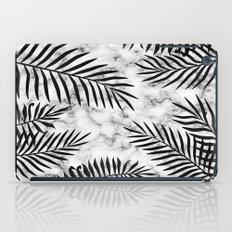Black palm leaves on marble iPad Case