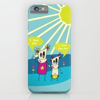 iPhone & iPod Case featuring Robot Sisters Blue - A Family Affair by TheWhiteAndBlack