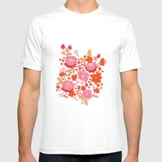Floral Folk SMALL White Mens Fitted Tee