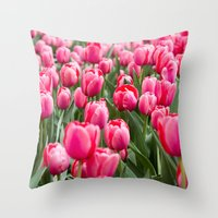Nature Photography, Botanical Fine Art, Tulip Print, Pink Wall Art, Flower Photo, Field of Tulips Throw Pillow